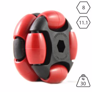 Picture of Rotacaster 48mm Double 90A Firm Polyurethane Roller 8mm Hex Bore