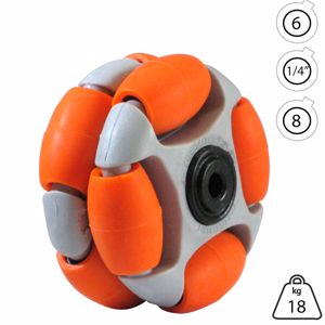 Picture of Rotacaster 48mm Double 65A Medium Polyurethane Roller 6mm Acetal Bearing