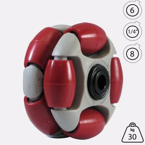 Picture of Rotacaster 48mm Double 90A Firm Polyurethane Roller 8mm Acetal Bearing